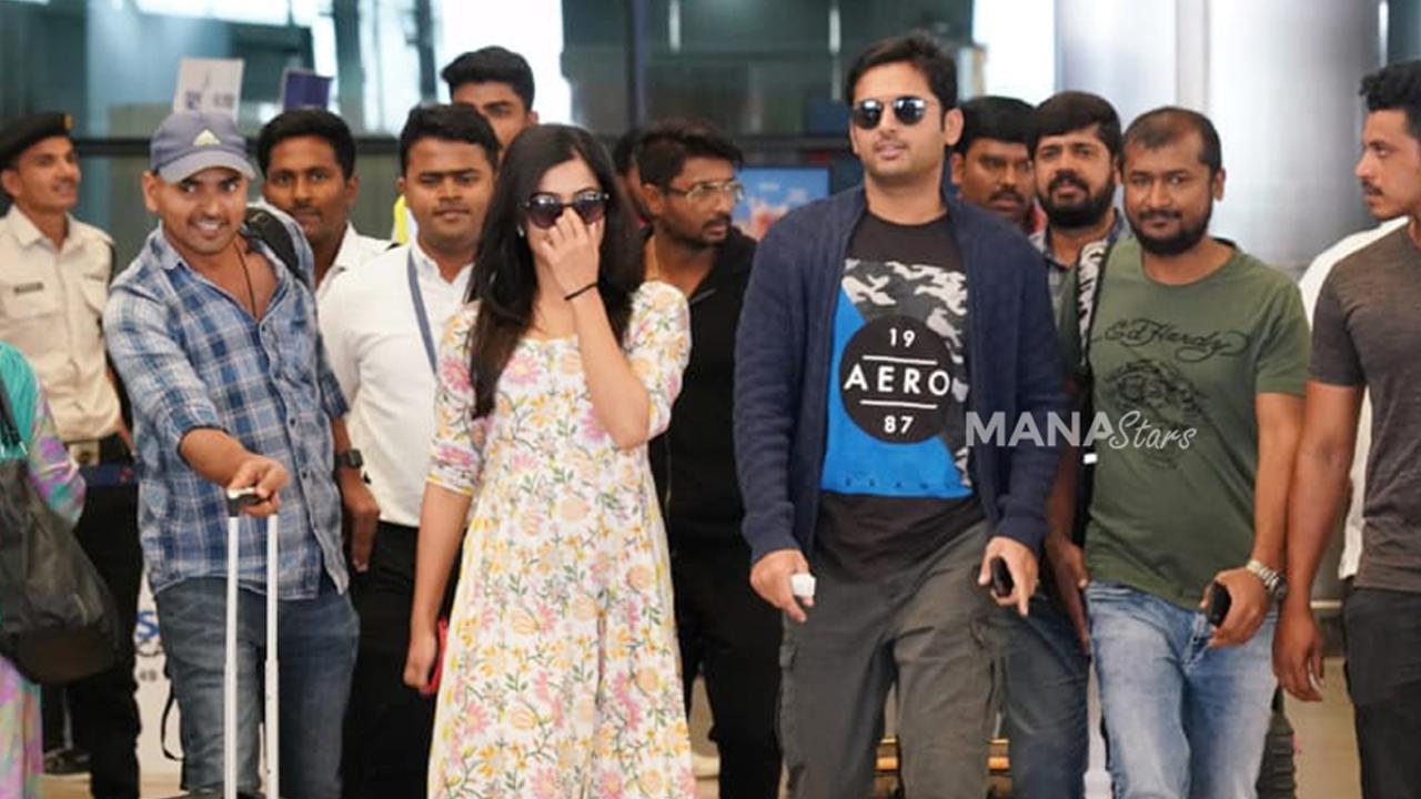 Photo of Nithiin and Rashmika Photos at Airport