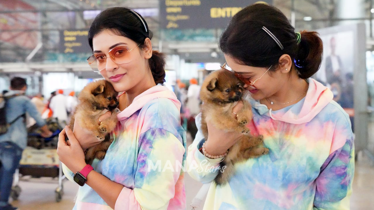 Photo of Payal Rajput With Pet Spotted at Airport