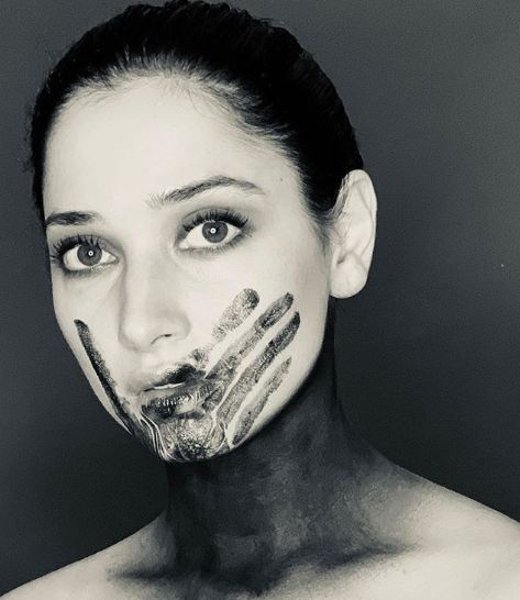 Photo of Tamannah's protest against animal abuse
